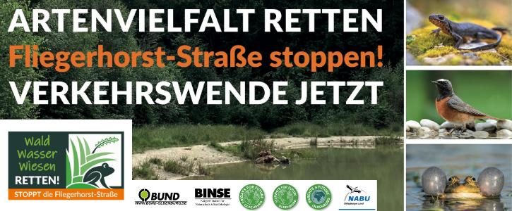 """Wald – Wasser – Wiesen retten: Stoppt die """"Fliegerhorst-Straße""""!"""
