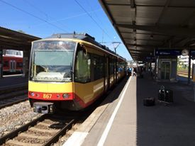 Stadtbahn auf der neuen A 1 Rheinbrücke Leverkusen - Köln Merkenich
